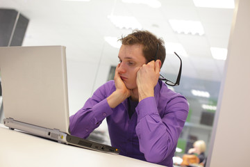 busy man solving problem in office environment