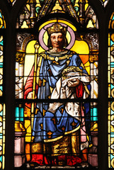 Saint Louis with the Crown of Thorns stained glass window