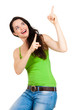 Happy beautiful woman pointing