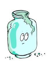 Empty broken glass jar