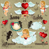 Set hearts and cupid love