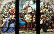 Nativity Scene, stained glass, St Severin church, Paris