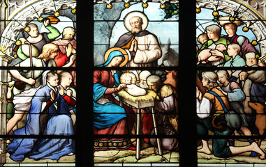 Nativity Scene, stained glass, St Severin church, Paris