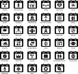 Set of calendars with different icons