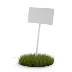 White board on a grass
