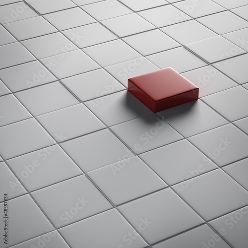One different red cube