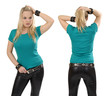 Blond woman posing with blank jade shirt