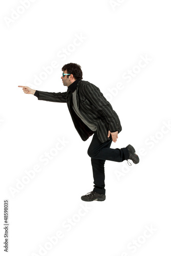 man indicate on white background