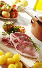 raw pork chops in the kitchen