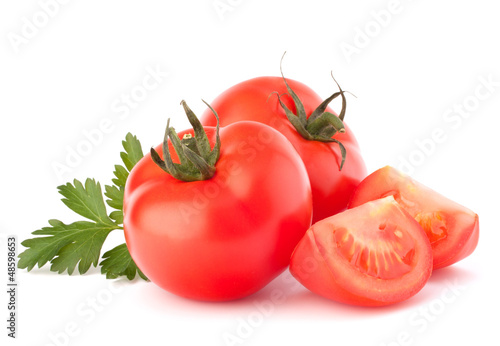 Tomato vegetables and parsley leaves still life