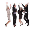Four business partners jumping for joy