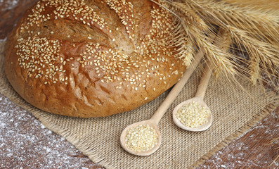 tasty bread with spikelets, close-up