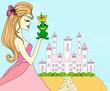 Beautiful young princess kissing a big frog