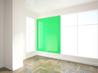 empty interior with green wall