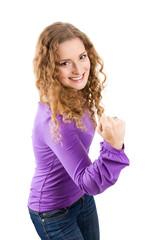 Junge Frau mit Power und Energie isoliert in Violett