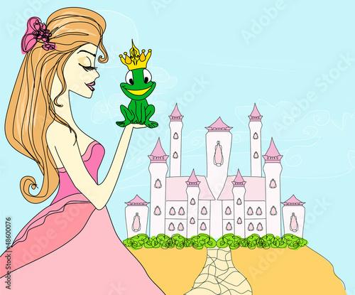 Papiers peints Chateau Beautiful young princess kissing a big frog