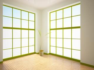 empty interior with green windows