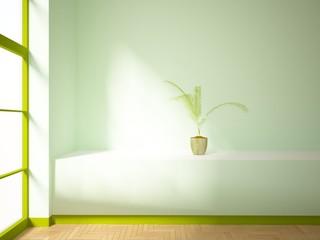 empty interior with green window