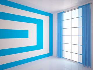 empty room with blue curtains and stripes on the wall