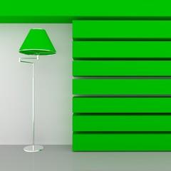 a green floor lamp