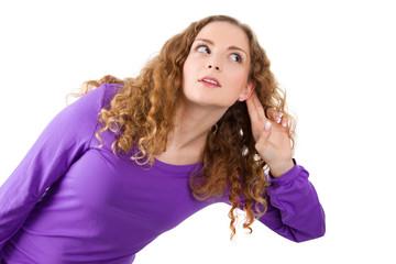 Nachfrage oder Neugierde - junge Frau isoliert