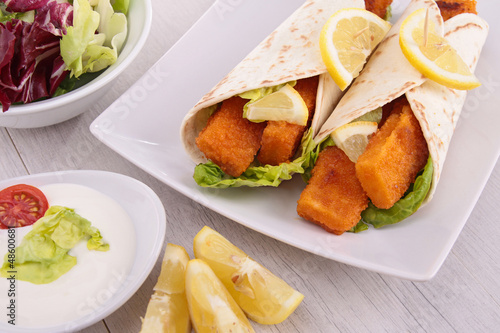 fajitas with fishsticks and salad