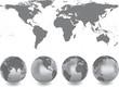 Weltkarte mit Kugeln