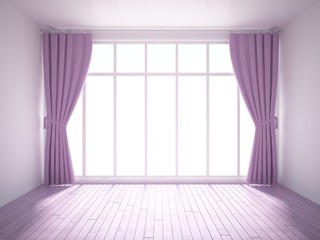 empty interior with violet floor and curtains