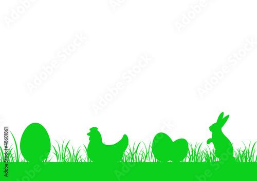 Frise herbe basse - Oeuf, Poule, Lapin - Pâques v2