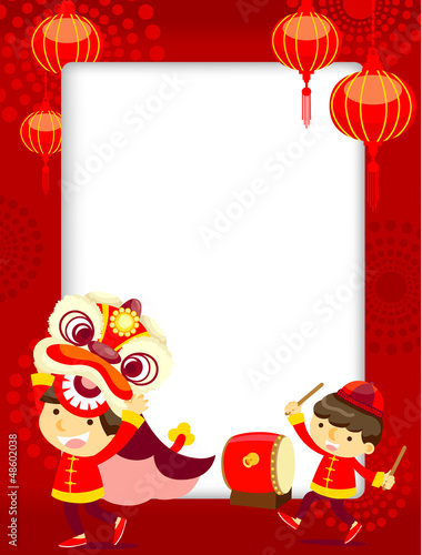 Chinese New Year Greeting Card/lion dance