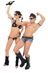 two dancers dressed as police