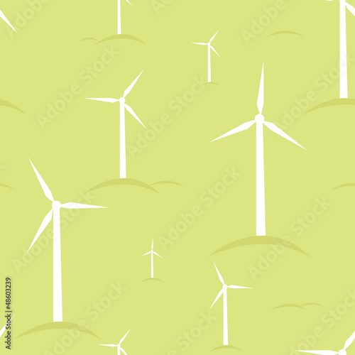 Vector ecological modern windmills seamless pattern background