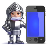 Knight stands by a smartphone