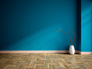 empty interior with a blue wall and vase
