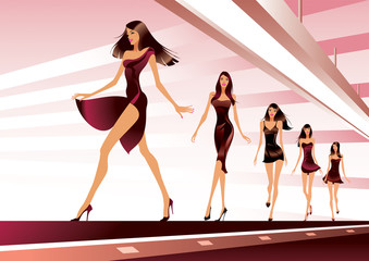 Fashion models on runway - vector illustration