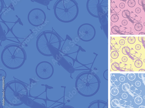 Vector set of frour tandem bicycles seamless patterns