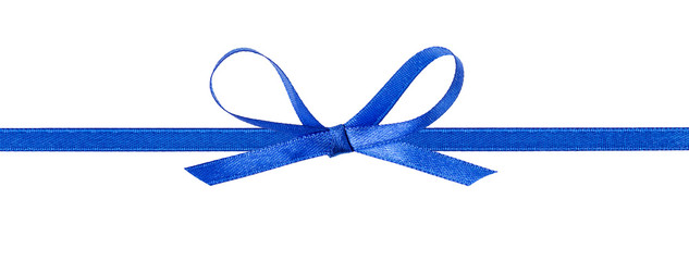 thin blue bow with horizontal ribbon