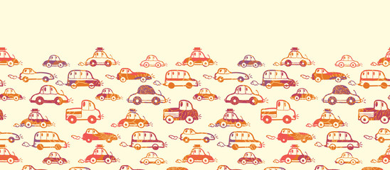Vector vibrant cars horizontal seamless pattern background