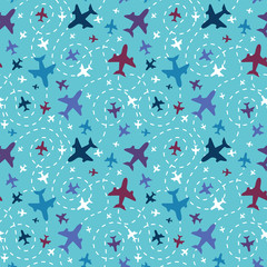 Vector airplanes in the sky seamless pattern background with