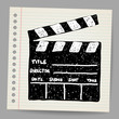 Old clapper board vector in doodle style