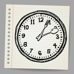 Doodle vector clock made of spoon and fork