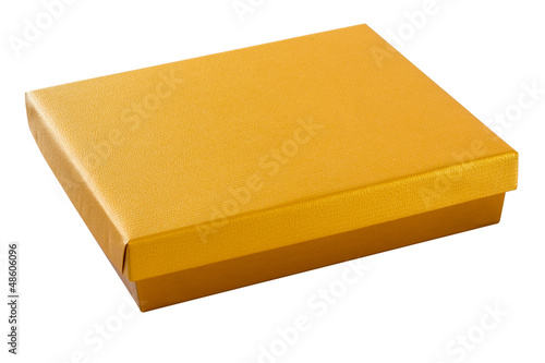 Gold color box with clipping path