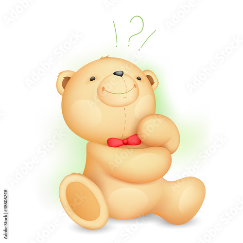 Thinking Cute Teddy Bear