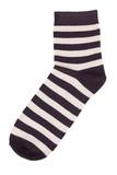 Black sock in a light yellow stripes