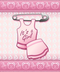 Baby Shower it's a Girl-Annuncio Nascita Femmina Bambina
