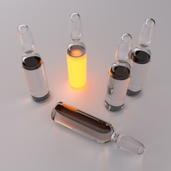 ampoule with lighting liquid