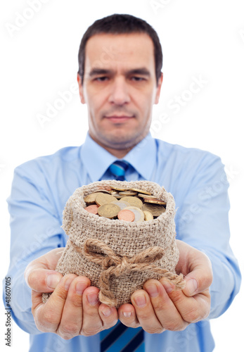 Businessman offering you a bag of money