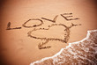 inscription LOVE and drawing a heart  on wet golden beach sand