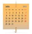 Calendar for July 2013 in Spanish
