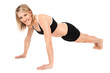 Beautiful fit young woman doing push ups